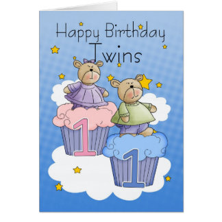 Twins First Birthday Card - Two Little Bears