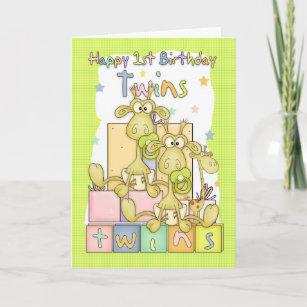twins 1st birthday cards zazzle