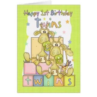 Twins First Birthday Card - Two Little Giraffs