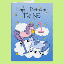 Twins First Birthday Card - Two Little Ponies