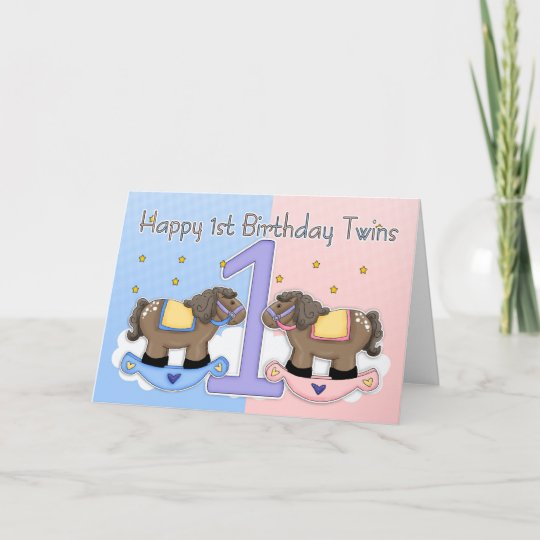 twins first birthday card two little ponies zazzle com