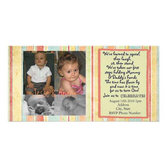 Twins First Birthday Invitation Photocard