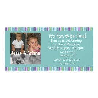 Twins First Birthday Party Invitation Photo Card