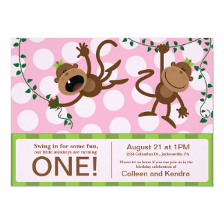 "Twin's First Birthday Party Invitations 5.5"" X 7.5"" Invitation Card"