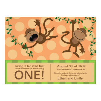 "Twin's first birthday party invitations. 5.5"" x 7.5"" invitation card"