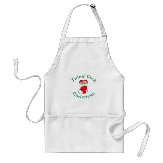 Twins First Christmas Adult Apron