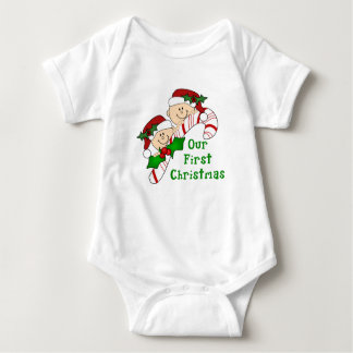 Twins First Christmas Candy Cane Baby Bodysuit