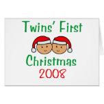 Twins First Christmas - Santa Hats 2008 Greeting Card