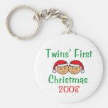Twins First Christmas - Santa Hats 2008 Key Chain