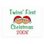 Twins First Christmas - Santa Hats 2008 Post Card