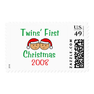 Twins First Christmas - Santa Hats 2008 Postage