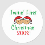 Twins First Christmas - Santa Hats 2008 Sticker