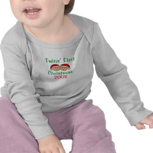 Twins First Christmas - Santa Hats 2008 Tee Shirts