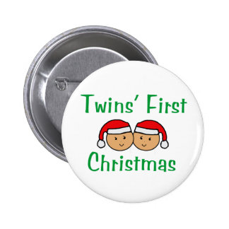 Twins First Christmas - Santa Hats (no date) 2 Inch Round Button