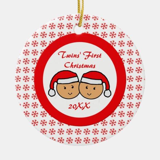 Twins First Christmas Santa Hats Ornament