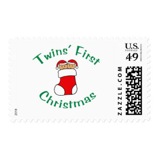 Twins First Christmas - Stocking (no date) Postage Stamps