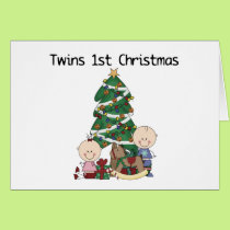 Twins First Christmas Tshirts and Gifts Card