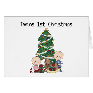 Twins First Christmas Tshirts and Gifts Greeting Card
