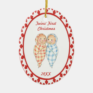 Twins First Christmas Wrapped Babies Oval Ornament