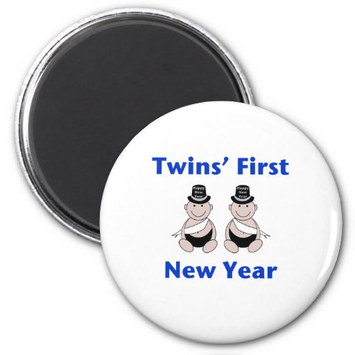 Twins First New Year (no date) Fridge Magnet
