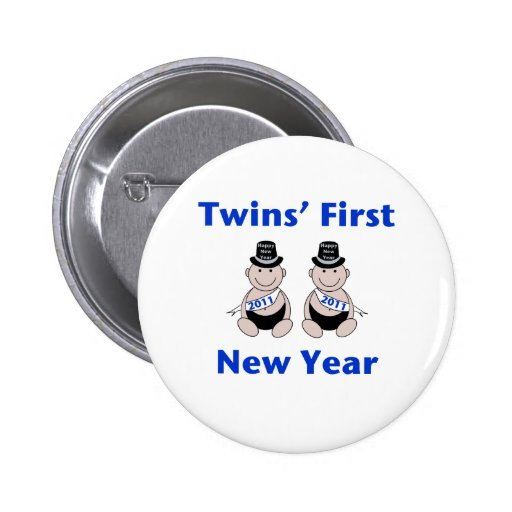 Twins First New Year Pinback Buttons