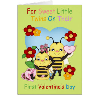 Twins First Valentine's Day With Little Bees Card