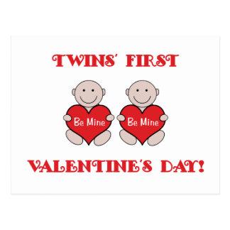 Twins First Valentines Postcard