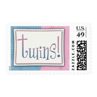 Twins for baby girl and boy stamp