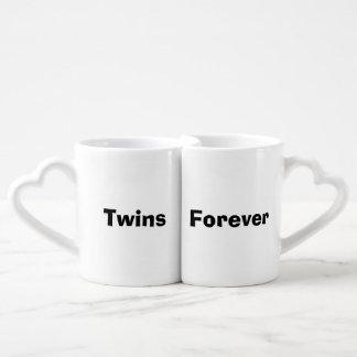 """Twins Forever"" Nesting Mug Set Couples' Coffee Mug Set"