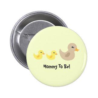 Twins Gender Neutral Duck Striped Baby Shower 2 Inch Round Button