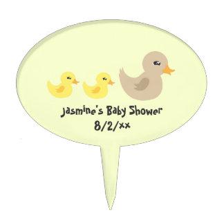 Twins Gender Neutral Duck Striped Baby Shower Cake Topper