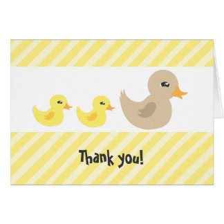Twins Gender Neutral Duck Striped Baby Shower Card