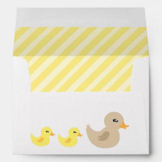 Twins Gender Neutral Duck Striped Baby Shower Envelope