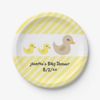 Twins Gender Neutral Duck Striped Baby Shower 7 Inch Paper Plate