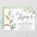Twins gender neutral greenery gold baby shower invitation