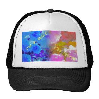 Twins Gender Reveal for Boy Girl 1/2 Blue 1/2pink Trucker Hat