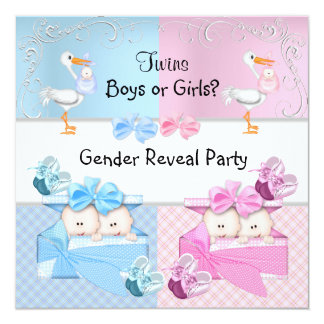 Twins Gender Reveal Party Boys or Girls Blue Pink Card