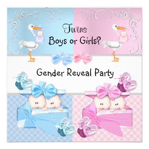 Twins Gender Reveal Party Boys or Girls Blue Pink Custom Invitations