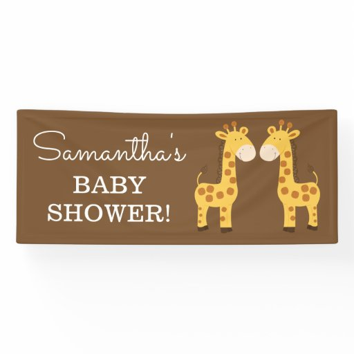 Twins Giraffe Baby Shower Banner | TWO TEXT LINES