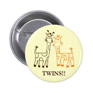 """""""Twins!!"""" Giraffes Pinback Button"""