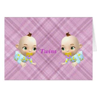 Twins Girls/pink Greeting Card