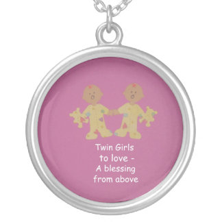 Twins girls to love! round pendant necklace
