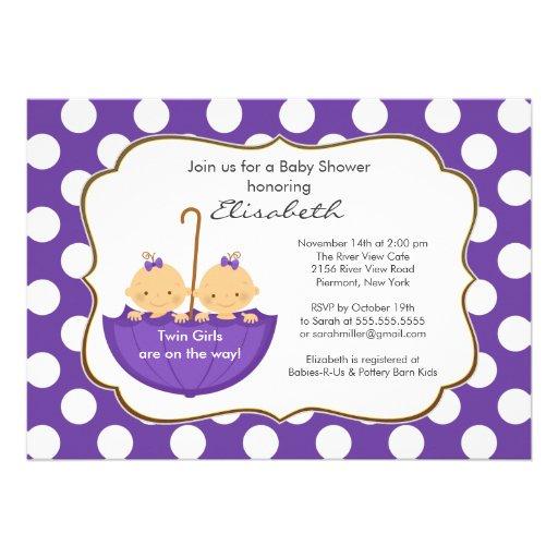 twins girls umbrella baby shower invitation purple 5 x 7 invitati