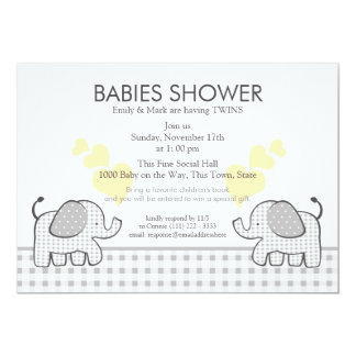 Twins Gray Gingham Baby Shower Card