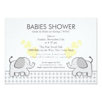 Twins Gray Gingham Baby Shower Invitation