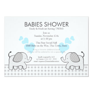 Twins Gray Gingham Blue Baby Shower Card