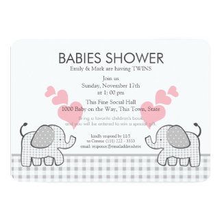 Twins Gray Pink Gingham Baby Shower 5x7 Paper Invitation Card