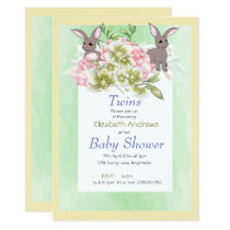 Twins Green Floral Rabbit Shower Invitation