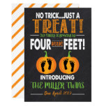 Twins Halloween Pregnancy Announcement Footprints