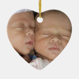 Twins Heart Shaped Photo 1st Christmas Ornament